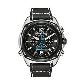 Bulova Precisionist Men's Black Leather Strap Watch - Product number 2336138