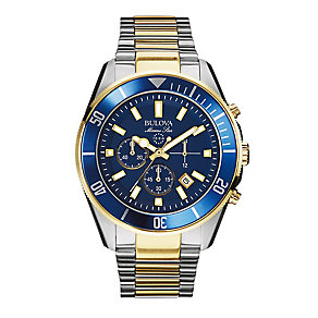 Bulova Marine Star Men's Two Colour Bracelet Watch - Product number 2336200