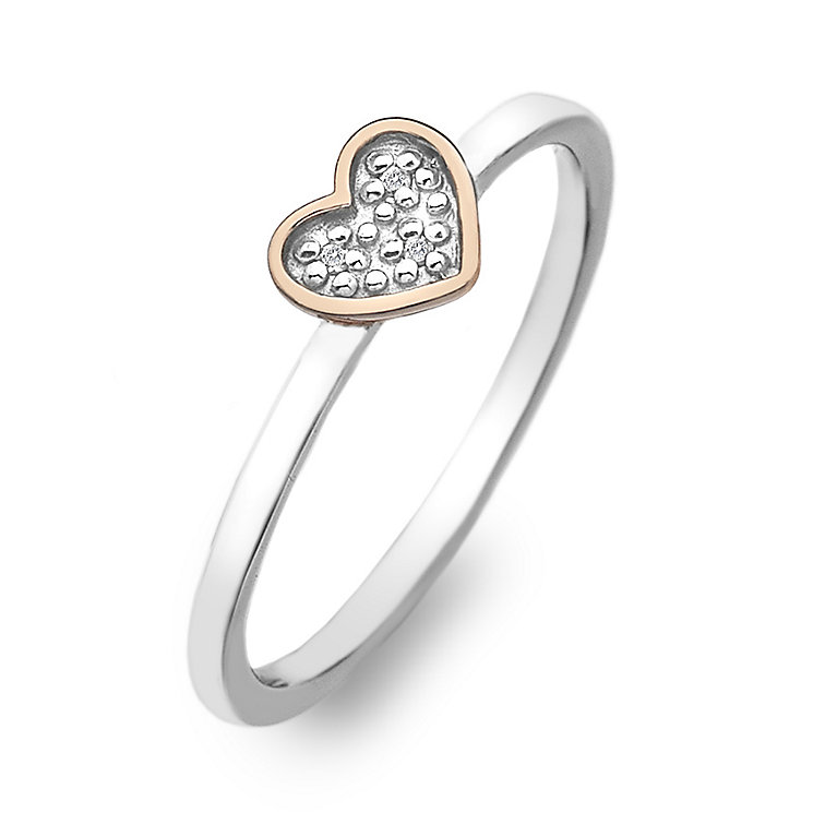 Hot Diamonds Rose Gold Plated Diamond Heart Ring Size L - Product number 2336324