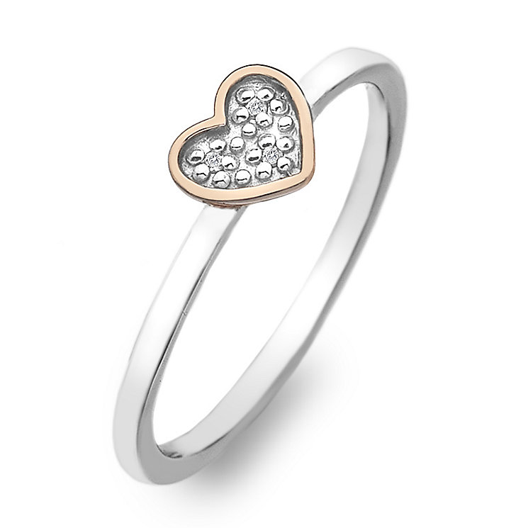 Hot Diamonds Rose Gold Plated Diamond Heart Ring Size M - Product number 2336332
