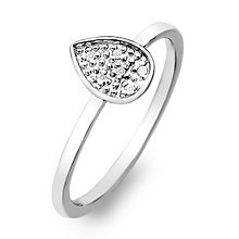 Hot Diamonds Sterling Silver Diamond Teardrop Ring Size L - Product number 2336359