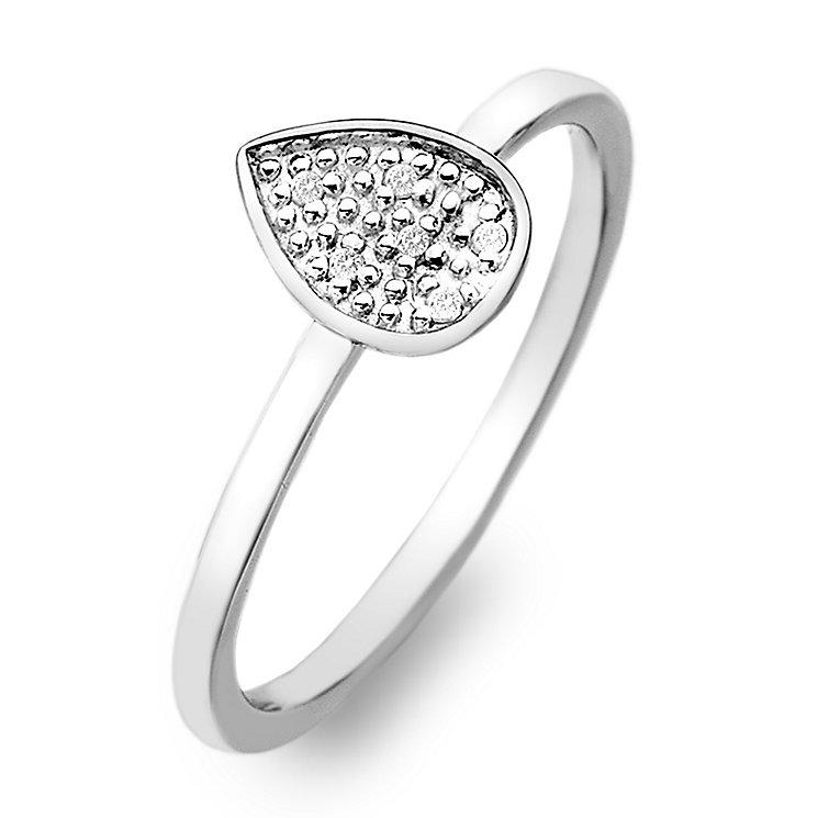 Hot Diamonds Sterling Silver Diamond Teardrop Ring Size M - Product number 2336367
