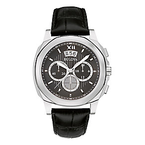 Bulova Men's Black Leather Strap Chronograph Watch - Product number 2336413