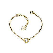 Guess Yellow Gold Plated Mini Heart Crystal Bracelet - Product number 2336464