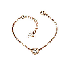 Guess Rose Gold Plated Mini Heart Crystal Bracelet - Product number 2336472