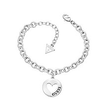 Guess Rhodium Plated Cut Out Heart Coin Bracelet - Product number 2336499