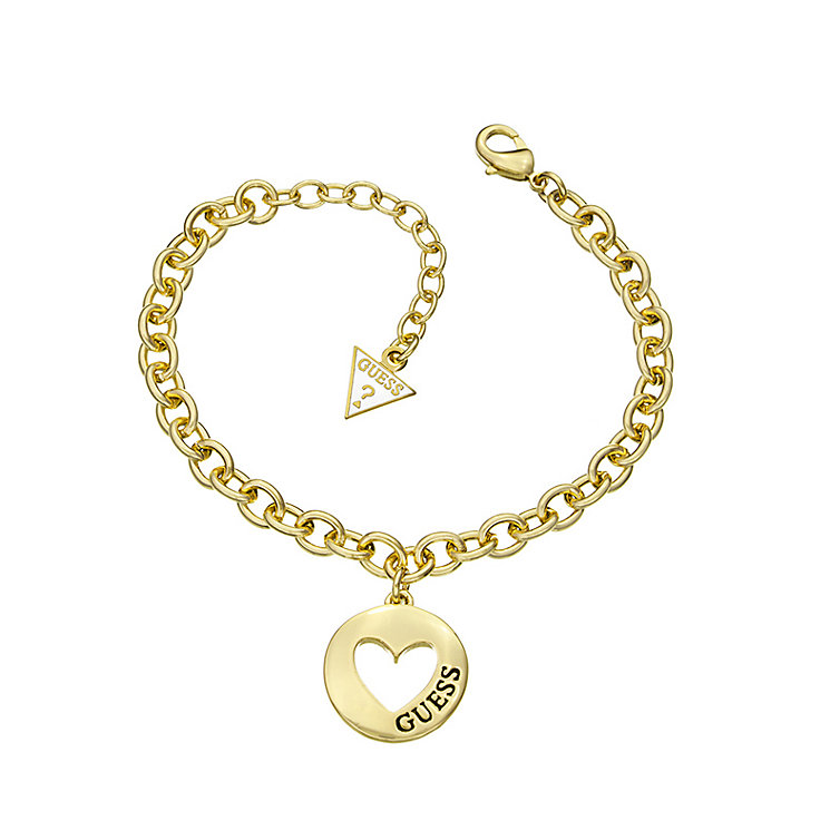 Guess Yellow Gold Plated Cut Out Heart Coin Bracelet - Product number 2336502