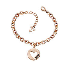 Guess Rose Gold Plated Cut Out Heart Coin Bracelet - Product number 2336510