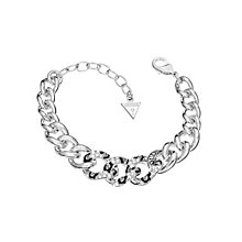Guess Rhodium Plated Crystal Set Leopard Print Curb Bracelet - Product number 2336537