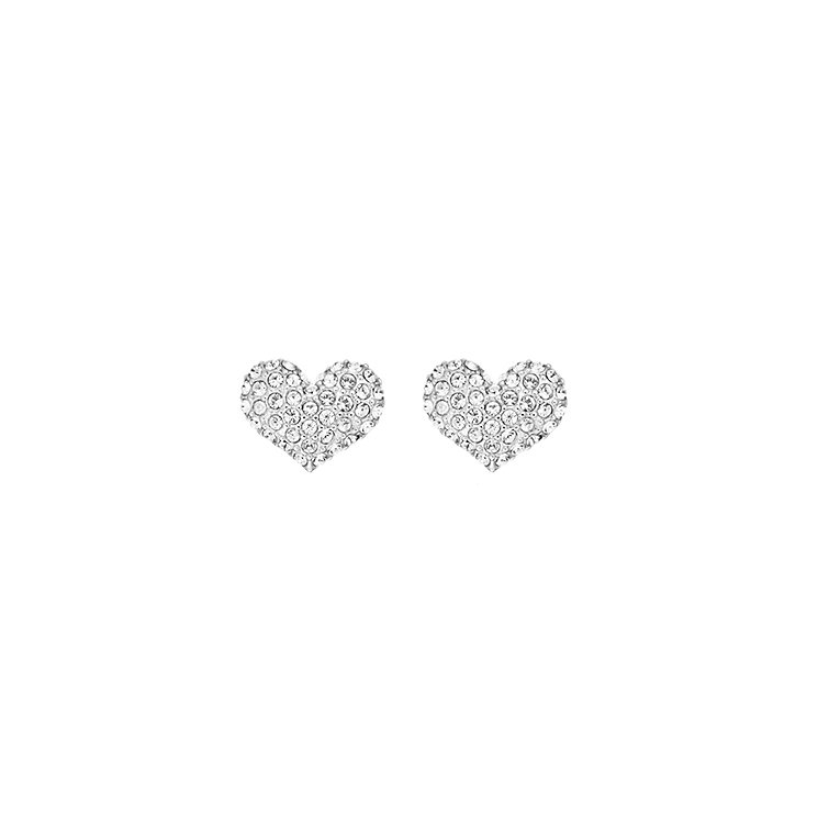 Guess Rhodium Plated Crystal Heart Stud Earrings - Product number 2336588