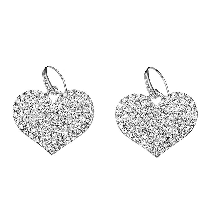 Guess Rhodium Plated Small Crystal Heart Drop Earrings - Product number 2336596