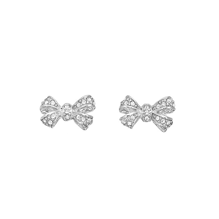 Guess Rhodium Plated Crystal Bow Stud Earrings - Product number 2336618
