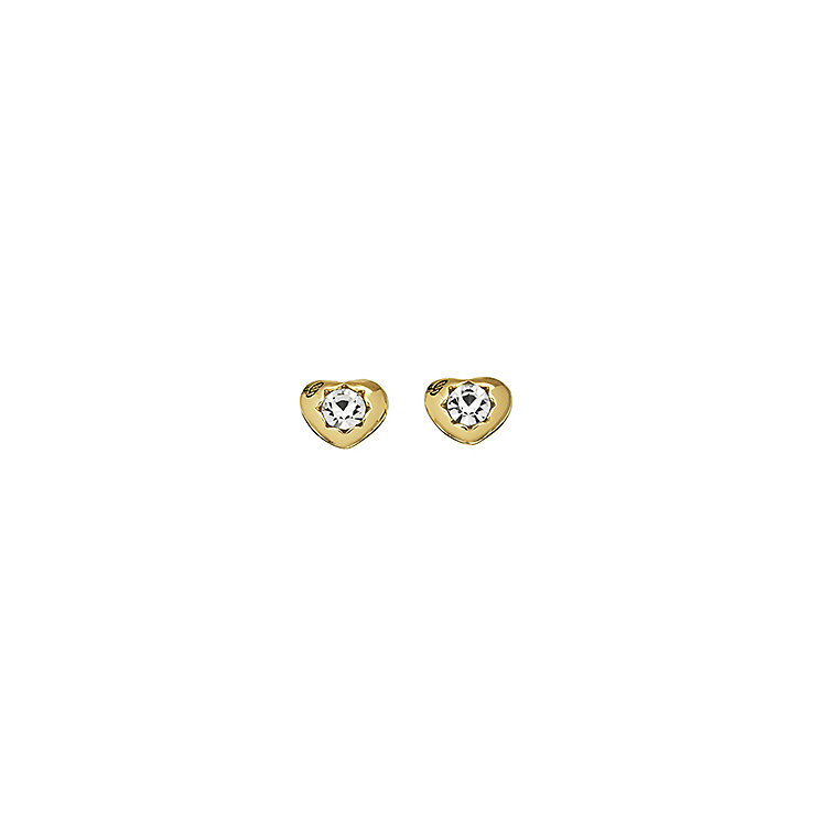 Guess Yellow Gold Plated Mini Heart Crystal Stud Earrings - Product number 2336634