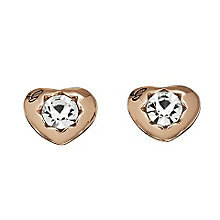 Guess Rose Gold Plated Mini Heart Crystal Stud Earrings - Product number 2336650