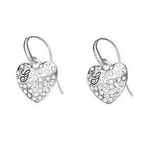 Guess Rhodium Plated Pave Set Crystal Heart Drop Earrings - Product number 2336669