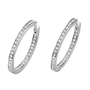 Guess Rhodium Plated Channel Set Crystal Hoop Earrings - Product number 2336677