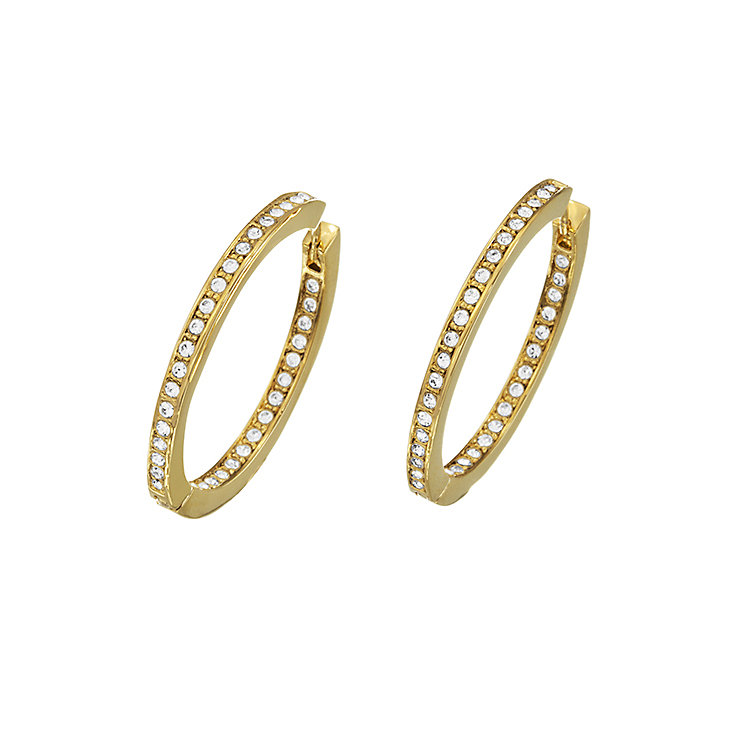Guess Yellow Gold Plated Channel Set Crystal Hoop Earrings - Product number 2336685