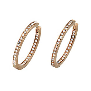 Guess Rose Gold Plated Channel Set Crystal Hoop Earrings - Product number 2336693