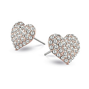 Guess Rose Gold Plated Crystal Set Heart Stud Earrings - Product number 2336707