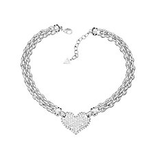 Guess Rhodium Plated Crystal Heart Curb Chain Bracelet - Product number 2336715
