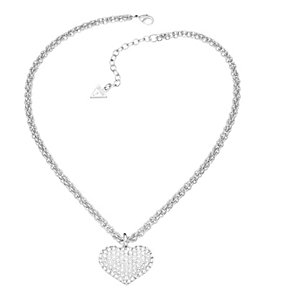 Guess Rhodium Plated Crystal Heart Curb Chain Necklace - Product number 2336782