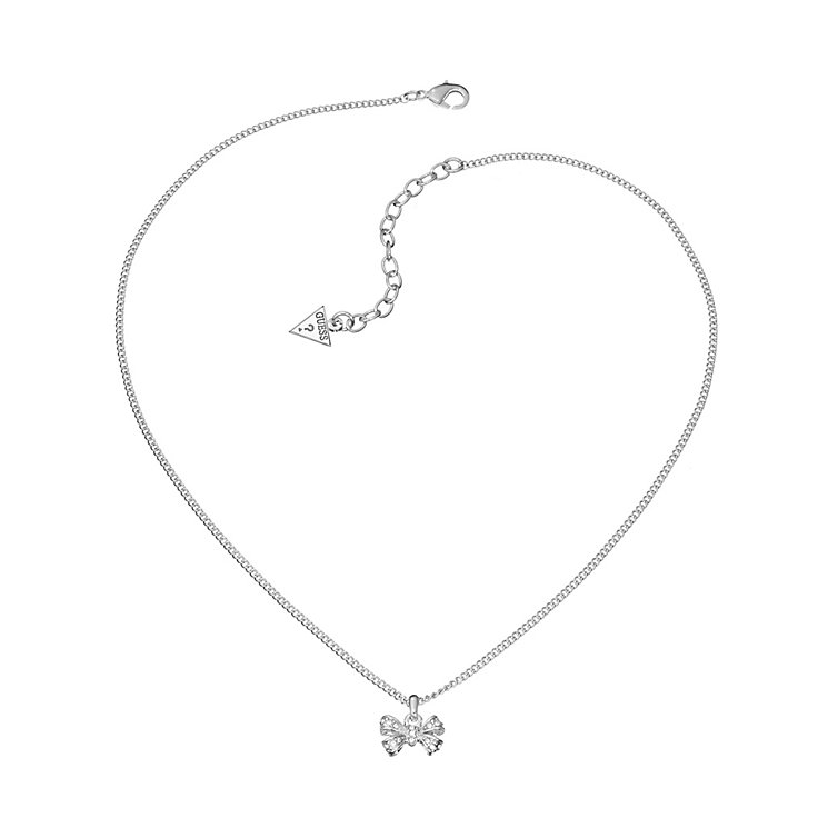 Guess Rhodium Plated Crystal Bow Pendant - Product number 2336790
