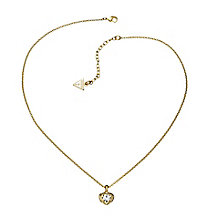Guess Yellow Gold Plated Mini Heart Crystal Necklace - Product number 2336812