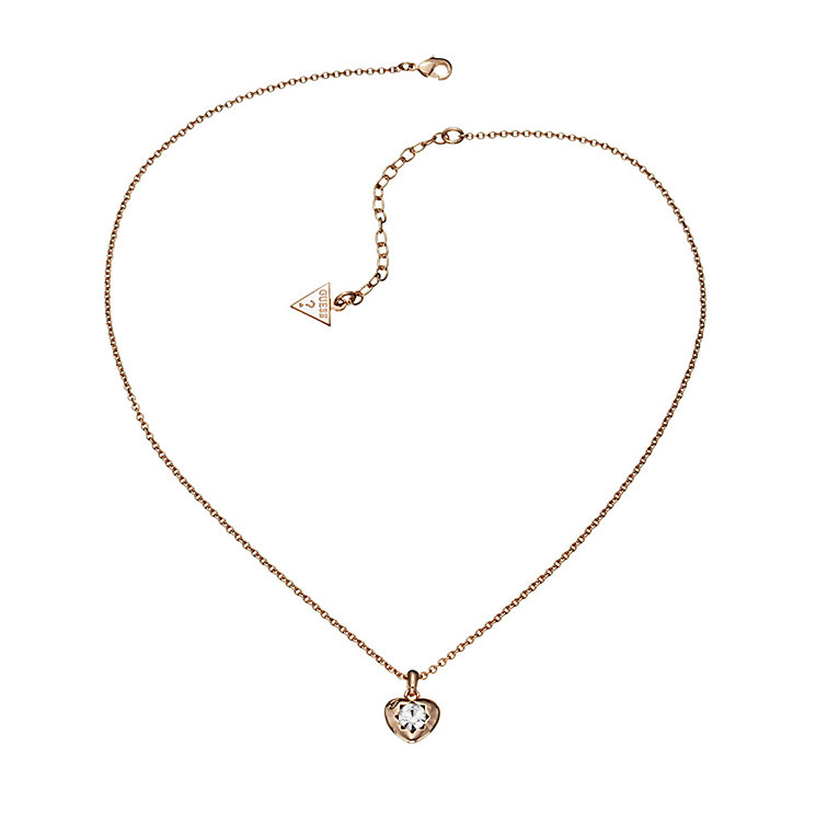 Guess Rose Gold Plated Mini Heart Crystal Necklace - Product number 2336820