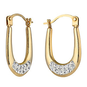 9ct Yellow Gold Oval Shaped Crystal Creole Earrings - Product number 2336847
