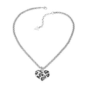 Guess Rhodium Plated Crystal Leopard Print Heart Pendant - Product number 2336855