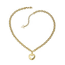 Guess Yellow Gold Plated Cut Out Heart Coin Necklace - Product number 2336871