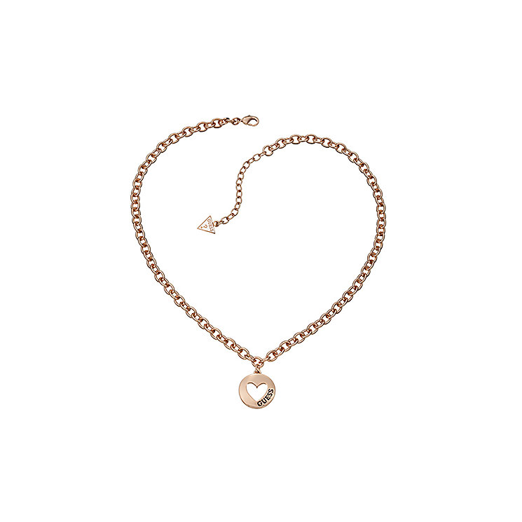 Guess Rose Gold Plated Cut Out Heart Coin Necklace - Product number 2336901