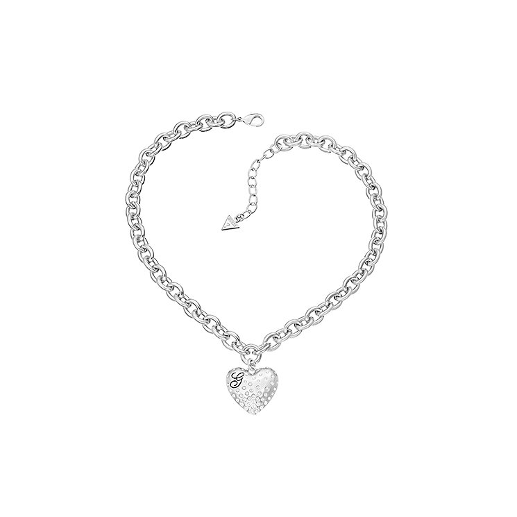 Guess Rhodium Plated Pave Crystal Heart Charm Necklace - Product number 2336928