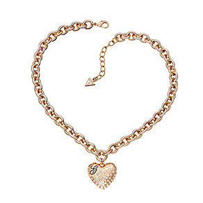 Guess Rose Gold Plated Pave Crystal Heart Charm Necklace - Product number 2336952