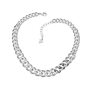 Guess Rhodium Plated Crystal Set Leopard Print Curb Necklace - Product number 2336960