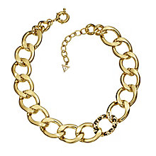Guess Yellow Gold Plated Crystal Leopard Print Curb Necklace - Product number 2336979