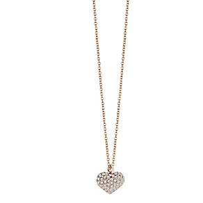 Guess Rhodium Plated Pave Set Crystal Heart Drop Pendant - Product number 2336987