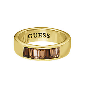 Guess Yellow Gold Plated Baguette Cut Crystal Ring Medium - Product number 2337002