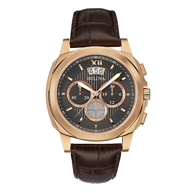 Bulova Men's Brown Leather Strap Chronograph Watch - Product number 2337150