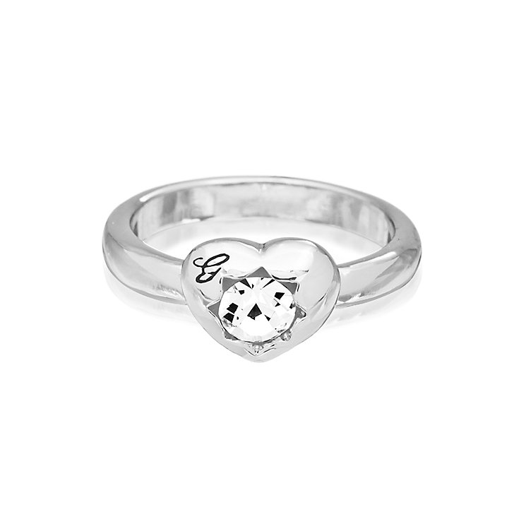 Guess Rhodium Plated Mini Heart Crystal Ring Small - Product number 2337177
