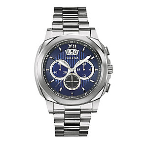 Bulova Men's Stainless Steel Blue Dial Chronograph Watch - Product number 2337193