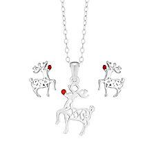 """Sterling Silver Enamel 14"""" Reindeer Pendant & Stud Earrings - Product number 2337207"""