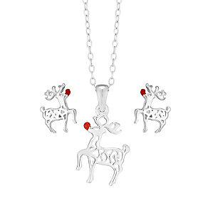 Children's Silver & Enamel Reindeer Earring & Pendant Set - Product number 2337207