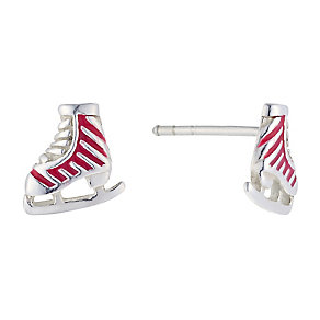 Children's Sterling Silver & Enamel Ice Skate Stud Earrings - Product number 2337223