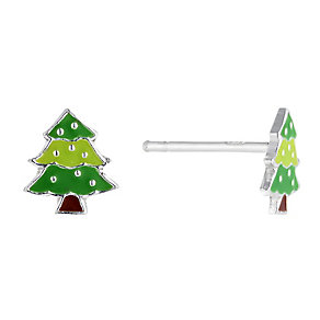 Children's Silver & Enamel Christmas Tree Stud Earrings - Product number 2337258