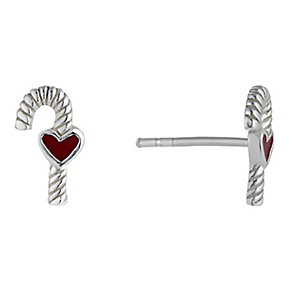 Children's Silver & Enamel Candy Cane Stud Earrings - Product number 2337266