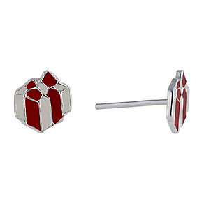 Children's Silver & Enamel Christmas Present Stud Earrings - Product number 2337274