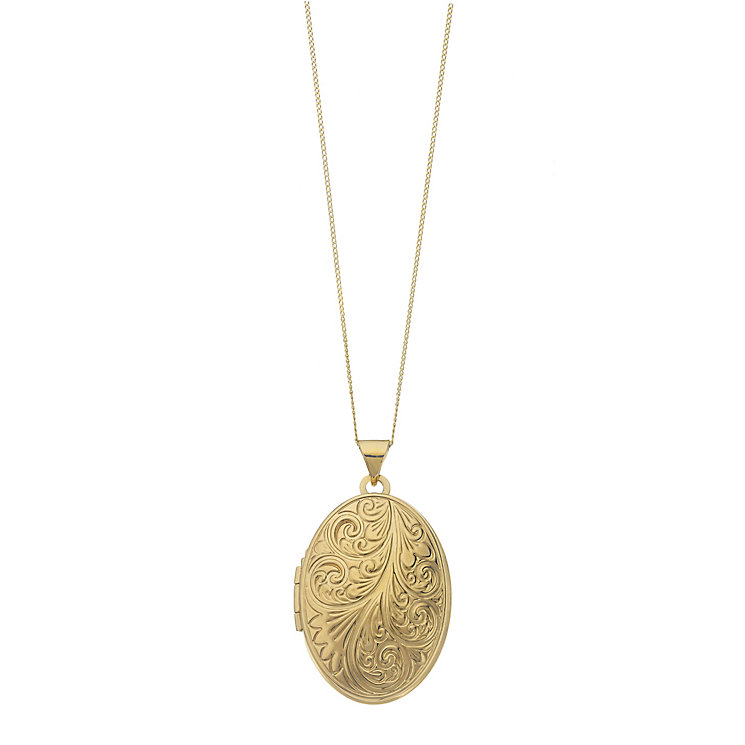 9ct Yellow Gold Domed Oval Swirl Locket - Product number 2337355