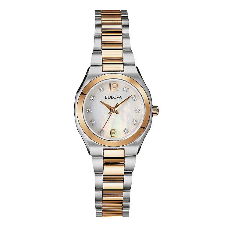 Bulova Ladies' Two Tone Diamond Mother Of Pearl Watch - Product number 2337371