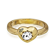 Guess Yellow Gold Plated Mini Heart Crystal Ring Small - Product number 2337436